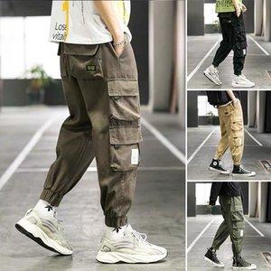 INS TikTok Hot Mens Cargo Pants Moda Hip Hop Streetwear casuali degli uomini della caviglia Banded pantaloni coreana Student multi tasche Sweatpants