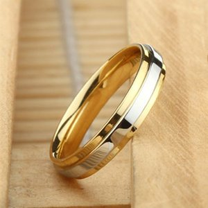 2020 new luxury gold silver color 4mm Titanium Couples Ring party gift jewelry drop shipping moonso R5646