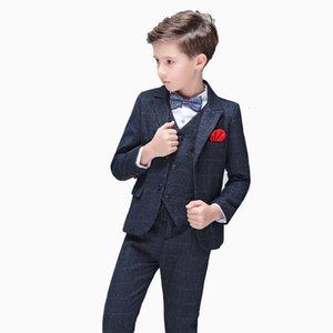 Boys Formal Wedding Suit Set Kids Tuxedo Costume Gentleman Boys Blazer Vest Pants 3pcs Party Performance Outfits Child Clothes