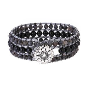 Men and Women Boho Style Natural Obsidian Bead Stone Statement Wrap Bracelet Jewelry