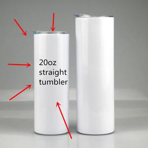 sublimation 20 oz flans sublimation droite tumbler sublimation gobelets en acier inoxydable tasses à café avec couvercle et paille peut paillettes métalliques