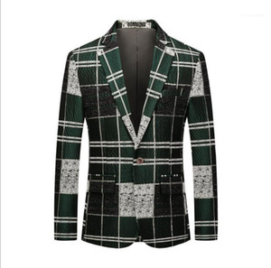 Men Spring Wintner Plus Size Patchwork Button Blazer Man Fashion Clothes Mens Green Plaid Party Blazers 6XL
