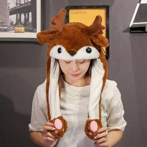 Decorazioni natalizie Cappello carino con orecchie in movimento LED Flash Light Light Cap per bambini Adult Year Xmas Regalo di Natale