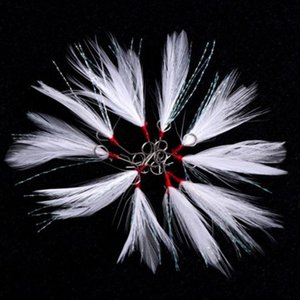 10Pcs Feather Fishing Lures Hooks Treble Lure Bait