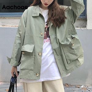Giacca Aachoae stile coreano allentato merci Donne Streetwear pipistrello maniche lunghe tasche della giacca Vintage autunno inverno giacche casual T200831