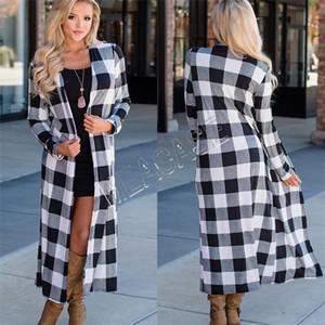 Mujeres Long Cardigan de moda otoño y el invierno manga larga a cuadros monos suéter comprobó la chaqueta chaqueta de punto Blusas Escudo de gran tamaño nuevo D81206