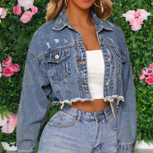 Kadınlar Sonbahar Delikler için Kadın Kırpılmış Jeans Ceket Denim Saçaklı Kısa Coats Vintage Casual Ceketler Kadın 2020 Streetwear Coats