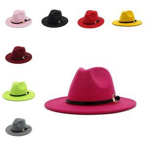 chaud Hat Fedora hommes Gentleman Femmes Chapeaux Brim Eglise Jazz Large Cap plat large bande Brim chapeaux Jazz Party Hats T2C5270