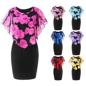 Plus Size M-5XL Elegant Office Lady Rose Flower Print Cape Bodycon Knee Length Dress Vestidos Summer Dresses Causal Clothing