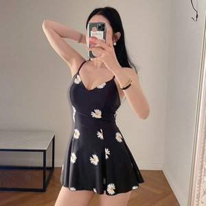 NBpxP 2020 new Japanese-style student Conservative bikini Suspender skirt Bikini swimsuit daisy printed suspender skirt swimsuit