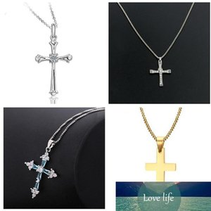 2018 popular styles 925 Sterling Silver Golden Cross Pendant Necklace New hot cross wedding silver pendant fashion jewelry Top quality