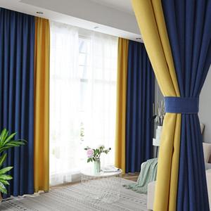 2pcs de lujo moderno de gama alta cortinas del dormitorio sala de estar Balcón pantalla de la ventana Cortinas Decoración Villa costura cortina de lino de algodón