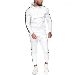 Striped Zipper Hooded Sweatshirt Sets Slim Fit Mens Sports Suits 20FW Casual Men Tracksuits Active Style