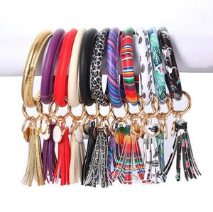 Women Tassels Bracelets PU Leather Wrap Key Ring Leopard Print Keychain Wristband Sunflower Drip Oil Circle Bangle Chains Wrist EEA1922