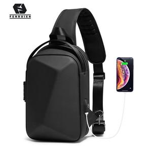 Fenruien 2020 Nouveau crossbody pour les hommes multifonctions Anti-vol sac à bandoulière homme imperméable court voyage recharge USB pack poitrine