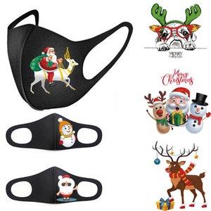 Festa de Natal Máscara Adulto bonito Crianças Funny Face Papai Noel máscara reutilizável Anti-poeira quente Máscara à prova de vento preto