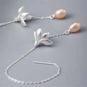 Long Chain Tassel Flower Earrings Authentic 925 Sterling Silver Natural Freshwater Pearl Dangle Drop Earring For Women