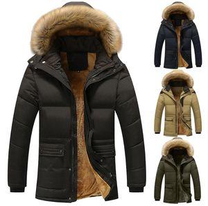 revestimento dos homens New Men Outono-Inverno cor Pure bolso aberto um chapéu Zipper com capuz de algodão Jacket Top Coat Mens Casual Blusa Overcoat