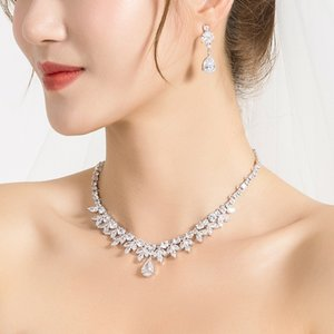 WEIMANJINGDIAN brillante Cubic Zirconia di cristallo peardrop e collana CZ Marquise e monili nuziali Wedding Set CX200808