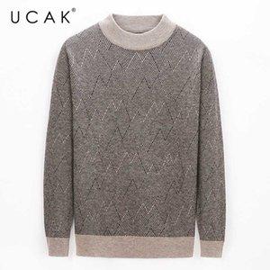 UCAK Marka kış Kazak Erkekler Giyim Yeni Streetwear Saf Merinos Yün Kazak Çekme Homme Casual Kazak colthes U3205 Isınma
