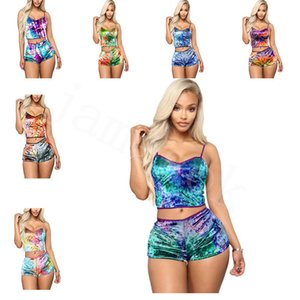 10 colori Donne Sexy Pigiama Set da donna Pizzo con scollo a V Crop Top Pantaloncini 2pcs Sleepwear Lingerie Pigiama Set DA889