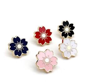 kızlar Takı toptan için 5 renk Japonya kiraz çiçeği çiçek Emaye pimleri Karikatür Bitki Yaka Rozetleri Broş Hediyeler