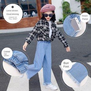 pantalones vaqueros de 2020 nuevos de moda grandes muchachas de los niños niñas pantalones vaqueros occidentales wide pierna ancha pantalones sueltos de pierna ancha pantalones largos para los niños
