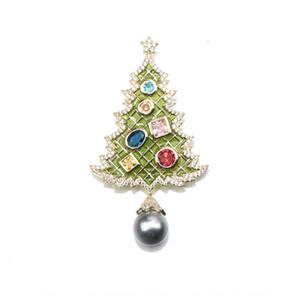 9W1Pp Noel serisi zarif yağ damlayan elmas Noel ağacı broş atmosferik inci pimi üst seviye imitasyon inci püskül broş wom