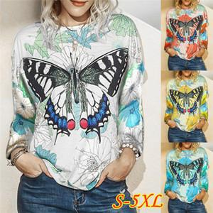 Plus Size T Shirts Frauen Designer Langarmshirts Kleidung Batterfly Muster O Ansatz dünner Herbst-Frauen-T-Shirts