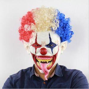 Afro clown, perruque latex masque halloween commerce masques maison hantée fantôme latex masque cosplay de secours de la salle d'horreur jokers Maska prop costume de clown