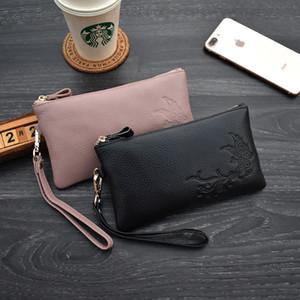 Fashion Simple Bag Genuine Leather Clutch For Women Zipper Big Capacity Wristlet Bag Female Coin Purse Phone Bags Wallets