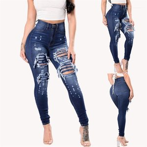 Jean agujero largo lápiz de los pantalones de cintura alta chicas Moda Pantalones para mujer de la cremallera del botón Fly Jeans primavera flaco
