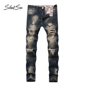 Silentsea Hommes Jeans Denim masculina Casual affligée pantalons Slim Jeans d'homme rock Marque Biker Ripped Marque
