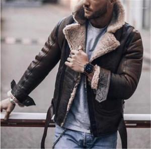 Moda Katı Kalın Kış Ceket Erkek Faux Kürk Liner Sıcak Coat Mens Tasarımcısı PU Deri Ceket