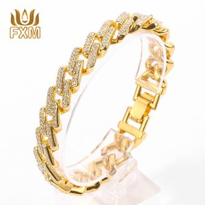 Square Cuban Link Chain Bracelet Men Gold Color Iced Out Cubic Zircon Hip hop Rapper Free Style Sweetwear Jewelry Bracelets