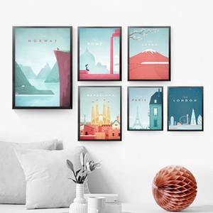 Famous World Travel London Plakat-Reihe Sehenswürdigkeiten Leinwand-Malerei Wand-Deko Poster und Drucke Bilder für Schlafzimmer Dekoration