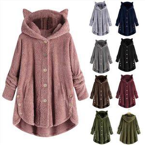 2020 lowest price Winter Cute Cats Ears Hooded Irregular Hem Buttons Jacket Fleece Autumn womens plus velvet sports Coat