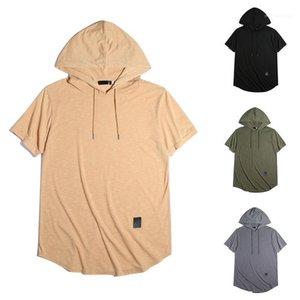 Color Men Tops Casual Loose T Shirts Hooded Irregular Hem Mens T-shirts Summer Short Sleeve Solid