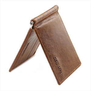 GUBINTU Vintage Mini Mens Genuine Leather Money Clip Wallet With Metal Clamp Small Purse Cash Holder Slim 6 Card Slots For Man