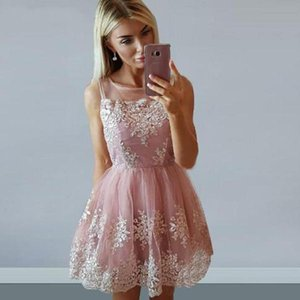Fashion Sheer Neck Blush Pink Short Homecoming Dresses A Line Sleeveless Tulle Cocktail Party Dress With Lace Appliques Custom Made Z49