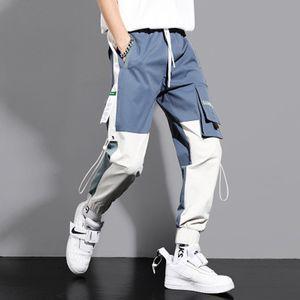 Pantalon cargo hommes adolescents sauvage Tie Brochage Student Tide Hip Hop Tide cordonnet été mince Pantalons simple