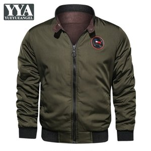 Autumn Mens Bomber Jacket Vintage Solid Casual Slim Fit Stand Collar Reversible Outerwear Fashion Thicken Winter Parkas Male