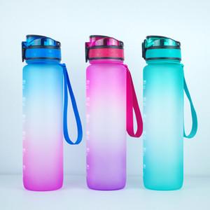 1000ml Farbverlauf Ein-Klick-Opening Fliptop Frühling Lid 32oz Motivation Fitness Outdoor Sports Wasserflasche mit Time Marker RRA3529