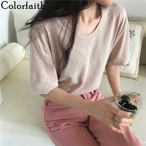 Günlük Şık Gevşek Minimalist Zeminleme Colorfaith Yeni 2020 Kadın İlkbahar Yaz Tişörtler Katı Çok Renkler T6040 Tops