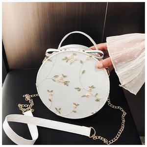 Ladies Round Bag Lace Round Handbags High Quality PU leather Women Crossbody Bags Female Small Flower Shoulder 2020