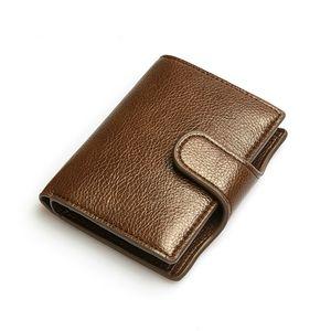YAMBUTO Hommes Vintage Pu Bouton Porte-standard en cuir Portefeuilles Protection antivol Banque Carte d'identité bourse Holder
