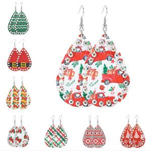 Árvore de Natal meninas PU Leather Brincos Designers brincos de diamante Snowman Papai Noel Waterdrop Brincos longa queda para as mulheres D9210