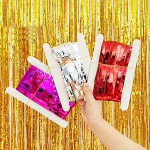 Metallic Vorhang Tinsel Foil Vorhang Geburtstag Hochzeit Sequin Kulisse Erwachsene Unicorn-Party-Baby-Duschen-Wand Drape 1 * 2 M 15 Farben