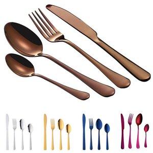 Acero Servicio Utensilios 4pcs Set Cubiertos Vajillas Juego de cubiertos de acero Vajilla Cuchillo Tenedor Cuchara de la cocina casera restaurante DHD1563