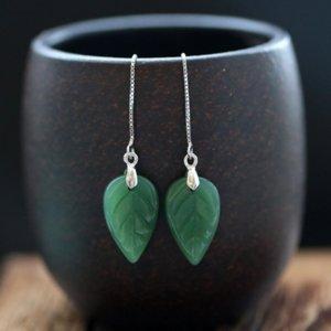 SW3Yy S925 gümüş zümrüt yeşili yaprak kulak hat kadın küpeleri kulak damlaları taklit Jade White'ın eardrop eardropEthnic Küpe Jade Bean Yeşil